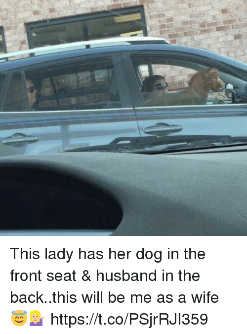 Girl Memes, Husband, and Wife: This lady has her dog in the front seat & husband in the back..this will be me as a wife 😇💁🏼 https://t.co/PSjrRJI359