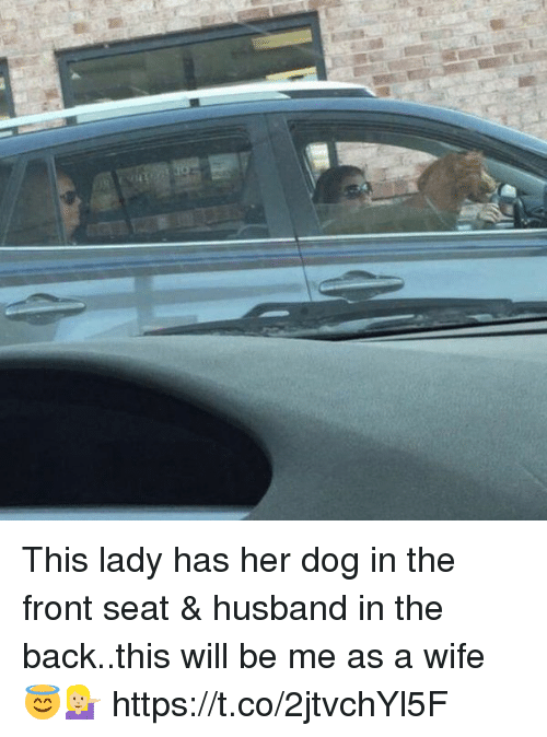 Girl Memes, Husband, and Wife: This lady has her dog in the front seat & husband in the back..this will be me as a wife 😇💁🏼 https://t.co/2jtvchYl5F