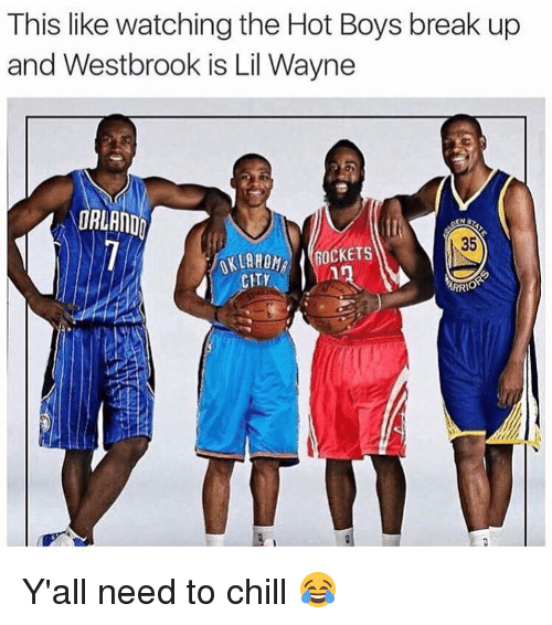 Hot Boys: This like watching the Hot Boys break up  and Westbrook is Lil Wayne  ORLANDO  35  OCKETS  CHTY  ARRIO Y'all need to chill 😂