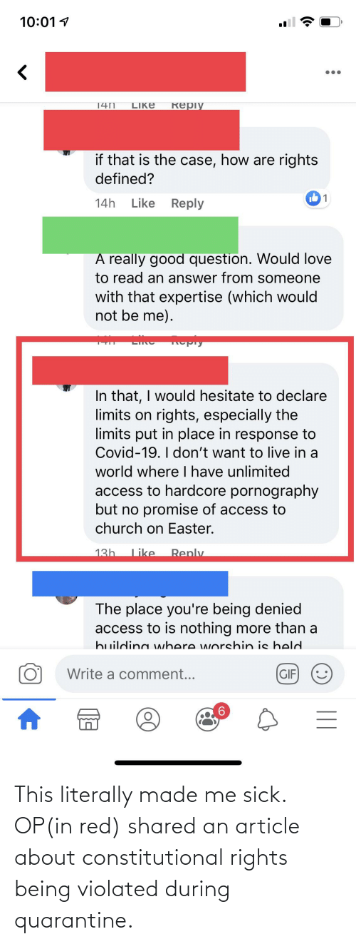 Constitutional: This literally made me sick. OP(in red) shared an article about constitutional rights being violated during quarantine.