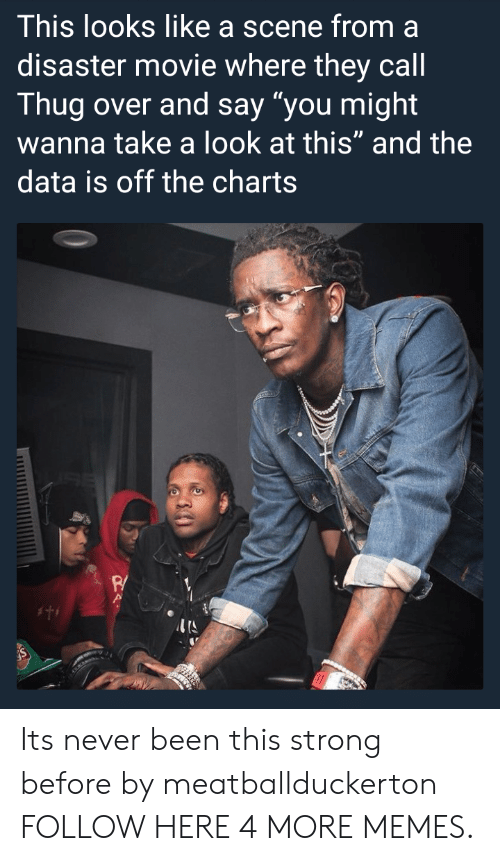 """Off The Charts: This looks like a scene from a  disaster movie where they cal  Thug over and say """"you might  wanna take a look at this"""" and the  data is off the charts  P/ Its never been this strong before by meatballduckerton FOLLOW HERE 4 MORE MEMES."""