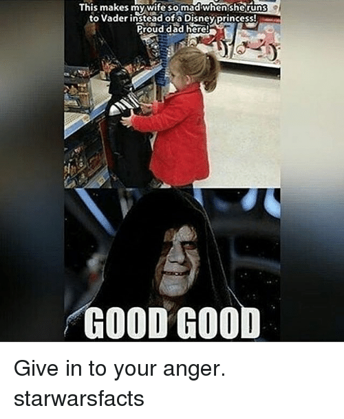 Memes, 🤖, and Madness: This makes my wife so mad when sheruns  to vader instead ofa Disney princessl  Proud dad here  a  GOOD GOO Give in to your anger. starwarsfacts