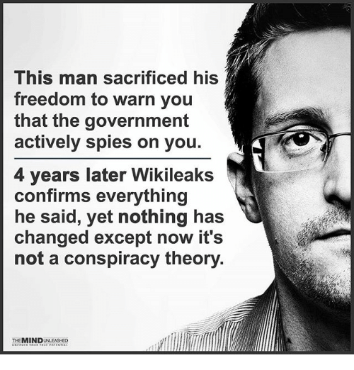 warne: This man sacrificed his  freedom to warn you  that the government  actively spies on you.  4 years later Wikileaks  confirms everything  he said, yet nothing has  changed except now it's  not a conspiracy theory  THE MIND