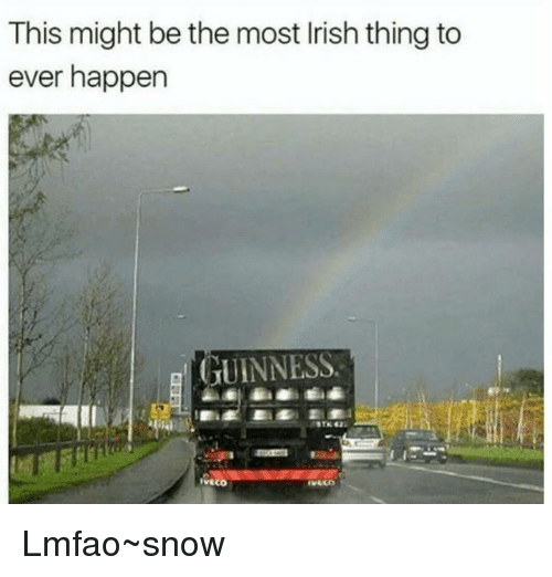 Irish, Memes, and Snow: This might be the most Irish thing to  ever happen  GUINNESS. Lmfao~snow