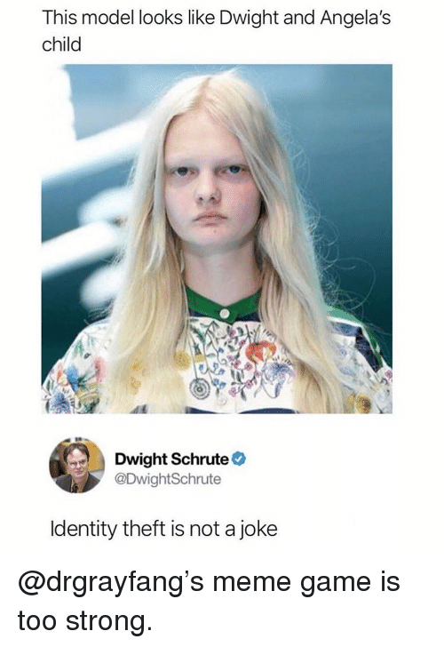 Meme Game: This model looks like Dwight and Angela's  child  Dwight Schrute  @DwightSchrute  ldentity theft is not a joke @drgrayfang's meme game is too strong.
