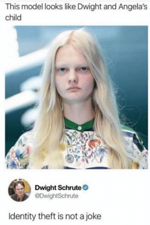 identity theft: This model looks like Dwight and Angela's  child  Dwight Schrute  @DwightSchrute  Identity theft is not a joke