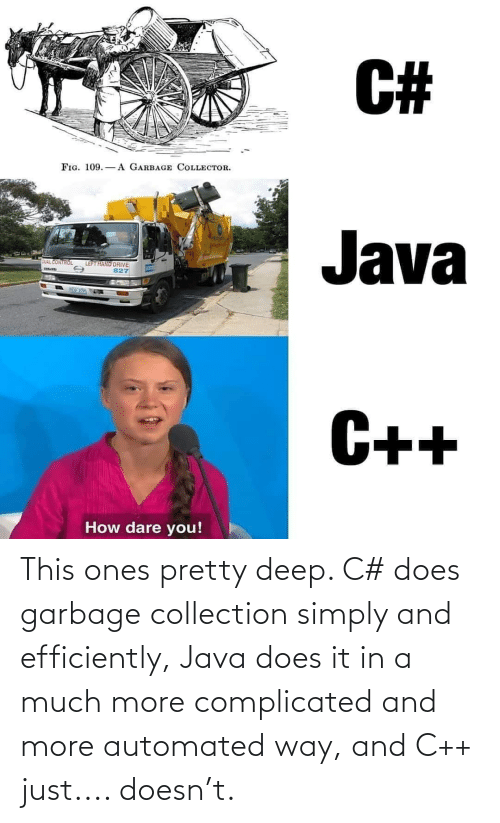 Java: This ones pretty deep. C# does garbage collection simply and efficiently, Java does it in a much more complicated and more automated way, and C++ just.... doesn't.