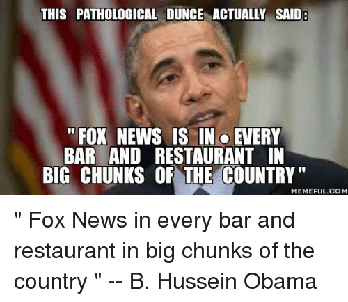 """Country Memes: THIS PATHOLOGICAL DUNCE ACTUALLY SAID  FOX NEWS IS IN o  EVERY  BAR AND RESTAURANT IN  BIG CHUNKS OF THE COUNTRY""""  MEMEFUL COM """" Fox News in ●every bar and restaurant  in big chunks of the country """"  -- B. Hussein Obama"""