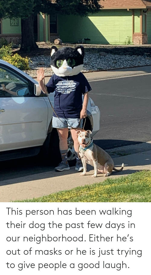 Just Trying To: This person has been walking their dog the past few days in our neighborhood. Either he's out of masks or he is just trying to give people a good laugh.