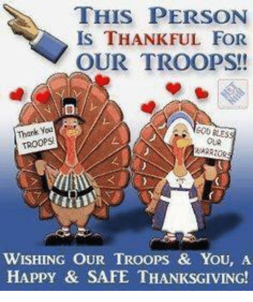 memes: THIS PERSON  IS THANKFUL FOR  OUR TROOPS!  Thank  TROOPS!  WISHING OUR TRoops & You, A  HAPPY & SAFE THANKSGIVING!