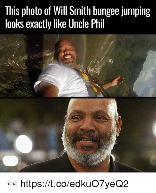 Will Smith, Uncle Phil, and Photo: This photo of Will Smith bungee jumping  looks exactly like Uncle Phil 👀 https://t.co/edkuO7yeQ2