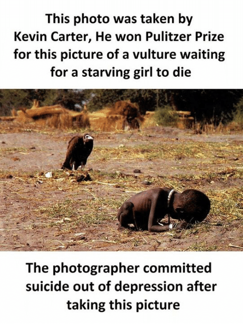 kevin carter the prize winning photograph Kevin carter, who should have been moved enough to hound out the predator,crouched in himself to get a better position for his photograph which just got an additional award winning element he waited nearly twenty minutes for his best shot, but he never could make the vulture spread its wings.