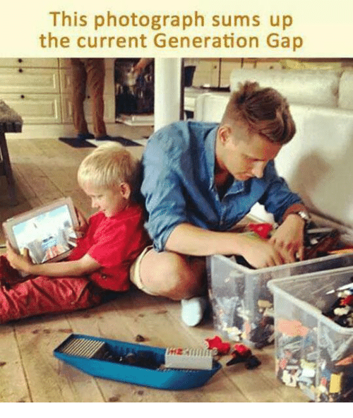 generation gap: This photograph sums up  the current Generation Gap