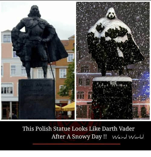 polishing: This Polish Statue Looks Like Darth Vader  After A Snowy Day!! VWeird Worl