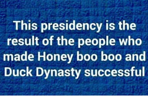 boo boo: This presidency is the  result of the people who  made Honey boo boo and  Duck Dynasty successful