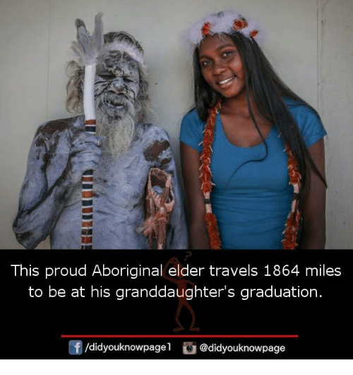 Memes, Aboriginal, and Proud: This proud Aboriginal elder travels 1864 miles  to be at his granddaughter's graduation.  囝  /didyouknowpagel @didyouknowpage