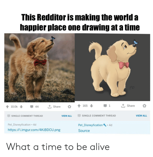 to-be-alive: This Redditor is making the world a  happier place one drawing at a time  T, Share  165  1  T, Share  10.0k  44  SINGLE COMMENT THREAD  VIEW ALL  SINGLE COMMENT THREAD  VIEW ALL  Pet_Disneyfication 4d  Pet Disneyfication 4d  http://i.imgur.com/4KIBDCU.png  Source What a time to be alive