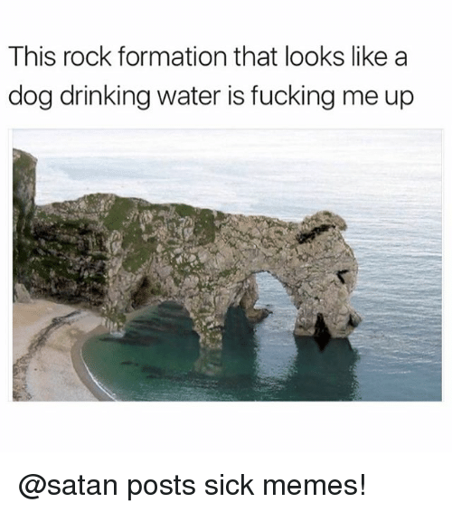 Drinking, Fucking, and Funny: This rock formation that looks like a  dog drinking water is fucking me up @satan posts sick memes!