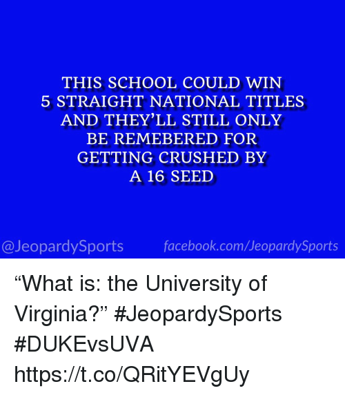 """crushed: THIS SCHOOL COULD WIN  5 STRAIGHT NATIONAL TITLES  AND THEY'LL STILL ONLY  BE REMEBERED FOR  GETTING CRUSHED BY  A 16 SEED  @JeopardySports facebook.com/JeopardySports """"What is: the University of Virginia?"""" #JeopardySports #DUKEvsUVA https://t.co/QRitYEVgUy"""