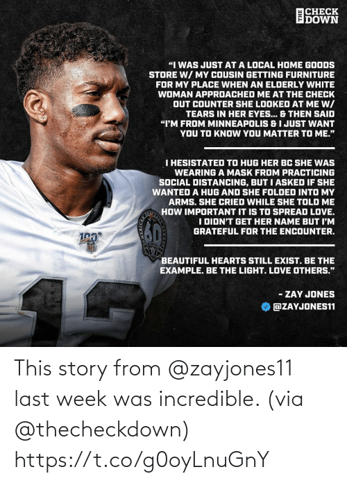 Last: This story from @zayjones11 last week was incredible. (via @thecheckdown) https://t.co/g0oyLnuGnY