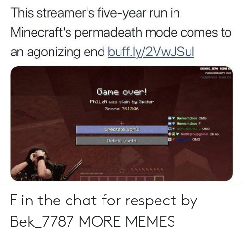 streamers: This streamer's five-year run in  Minecraft's permadeath mode comes to  an agonizing end buff.ly/2VwJSul  Gane over!  PhiLzn was slain by Spider  Score: 761246  OMG  Oh no.  OMG  Delete uorld  93 F in the chat for respect by Bek_7787 MORE MEMES