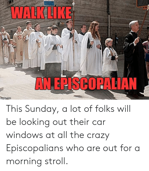 Crazy, Windows, and Sunday: This Sunday, a lot of folks will be looking out their car windows at all the crazy Episcopalians who are out for a morning stroll.