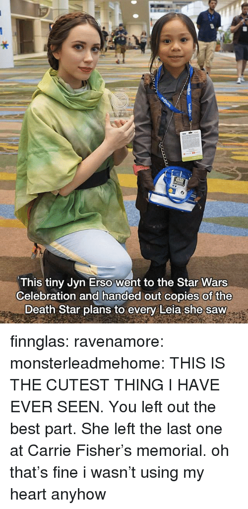 Memorial: This tiny Jyn Erso went to the Star Wars  Celebration and handed out copies of the  Death Star plans to every Leia she saw finnglas:  ravenamore:  monsterleadmehome: THIS IS THE CUTEST THING I HAVE EVER SEEN. You left out the best part. She left the last one at Carrie Fisher's memorial.  oh that's fine i wasn't using my heart anyhow
