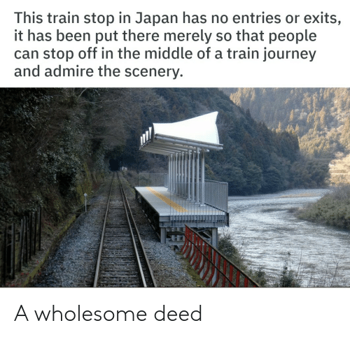 merely: This train stop in Japan has no entries or exits,  it has been put there merely so that people  can stop off in the middle of a train journey  and admire the scenery A wholesome deed