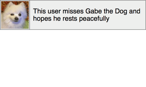 Gabe: This user misses Gabe the Dog and  hopes he rests peacefully