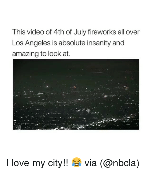 Love, Memes, and 4th of July: This video of 4th of July fireworks all over  Los Angeles is absolute insanity and  amazing to look at. I love my city!! 😂 via (@nbcla)