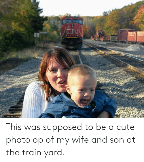 Train: This was supposed to be a cute photo op of my wife and son at the train yard.