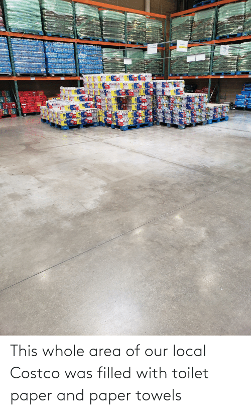 Costco: This whole area of our local Costco was filled with toilet paper and paper towels