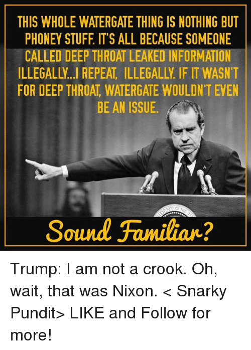 pundits: THIS WHOLE WATERGATE THING IS NOTHING BUT  PHONEY STUFF IT'S ALL BECAUSE SOMEONE  CALLED DEEP THROAT LEAKED INFORMATION  FOR DEEP THROAT WATERGATE WOULDN'T EVEN  BE AN ISSUE  Sound Familiar? Trump: I am not a crook. Oh, wait, that was Nixon.  < Snarky Pundit> LIKE and Follow for more!