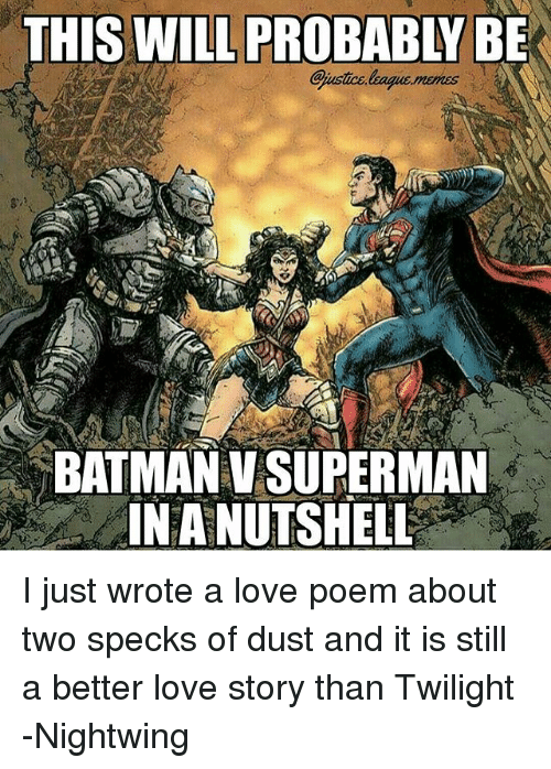 Still a Better Love Story than Twilight : THIS WILL PROBABLY BE  BATMAN V SUPERMAN  INA NUTSHELL I just wrote a love poem about two specks of dust and it is still a better love story than Twilight -Nightwing