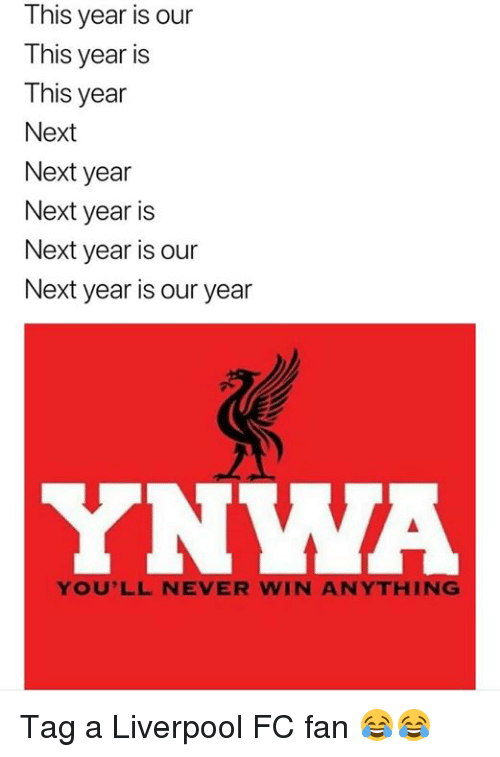 Memes, Liverpool F.C., and Never: This year is our  This year is  This year  Next  Next year  Next year is  Next year is our  Next year is our year  YNWA  YOU'LL NEVER WIN ANYTHING Tag a Liverpool FC fan 😂😂
