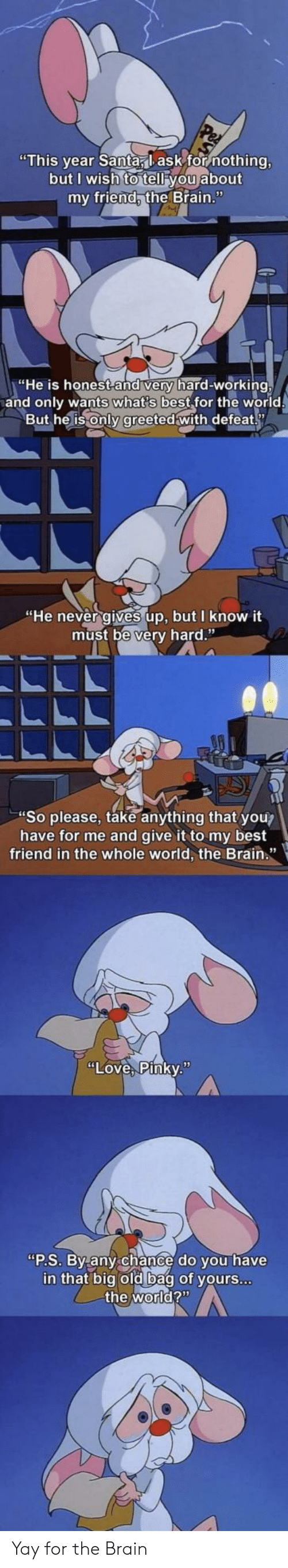"""the brain: """"This year Santa, lask for nothing,  but I wish to tell you about  my friend, the Brain.""""  """"He is honest and very hard-working,  and only wants what's best for the world  But he is only greeted with defeat  """"He never gives up, but I know it  must be very hard.""""  """"So please, take anything that you?  have for me and give it to my best  friend in the whole world, the Brain.""""  """"Love, Pinky.""""  """"P.S. By any chance do you have  in that big old bag of yours...  the world?"""" Yay for the Brain"""