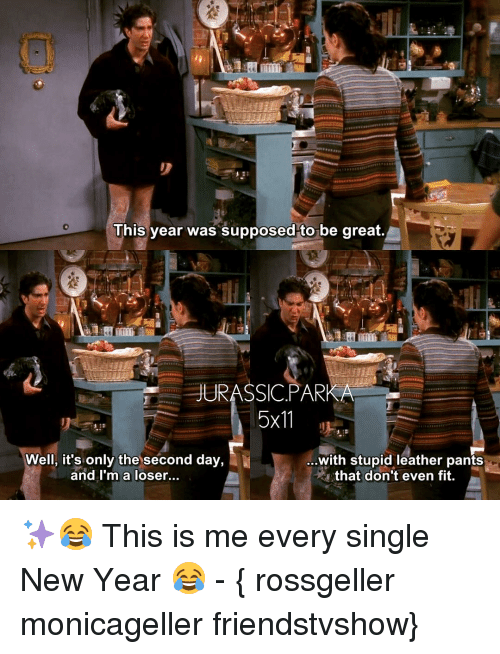 Memes, New Year's, and Singles: This year was supposed to be great.  JURASSIC. PARKA  5x11  Well, it's only the second day,  ...with stupid leather pants  and I'm a loser...  that don't even fit ✨😂 This is me every single New Year 😂 - { rossgeller monicageller friendstvshow}