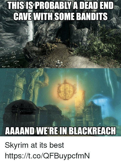 dead end: THISIS  PROBABLY  A  DEAD  END  CAVE WITH SOME BANDITS  AAAAND WEREIN BLACKREACH Skyrim at its best https://t.co/QFBuypcfmN