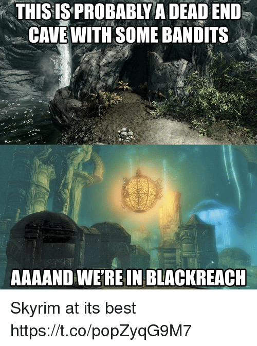 dead end: THISIS  PROBABLY  A  DEAD  END  CAVE WITH SOME BANDITS  AAAAND WEREIN BLACKREACH Skyrim at its best https://t.co/popZyqG9M7