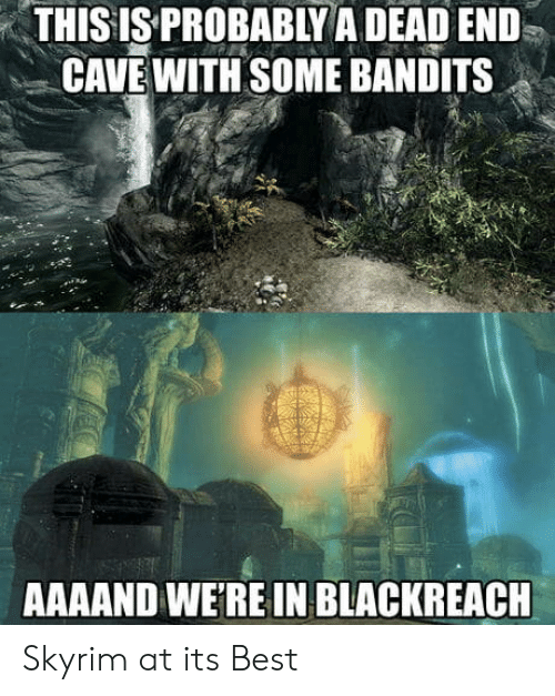 dead end: THISIS PROBABLY A DEAD END  CAVE WITH SOME BANDITS  AAAAND WE'RE IN BLACKREACH Skyrim at its Best