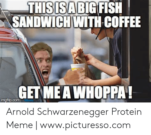 Protein Meme: THISISA  SANDWICH WITH COFFEE  BlG FISH    GET MEA WHOPPA  imgflip.com Arnold Schwarzenegger Protein Meme   www.picturesso.com