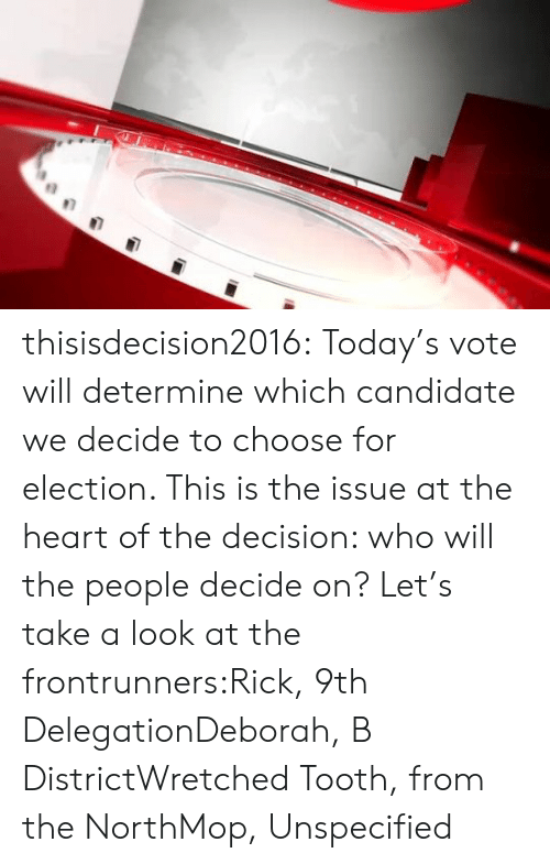 Deborah: thisisdecision2016:  Today's vote will determine which candidate we decide to choose for election. This is the issue at the heart of the decision: who will the people decide on? Let's take a look at the frontrunners:Rick, 9th DelegationDeborah, B DistrictWretched Tooth, from the NorthMop, Unspecified