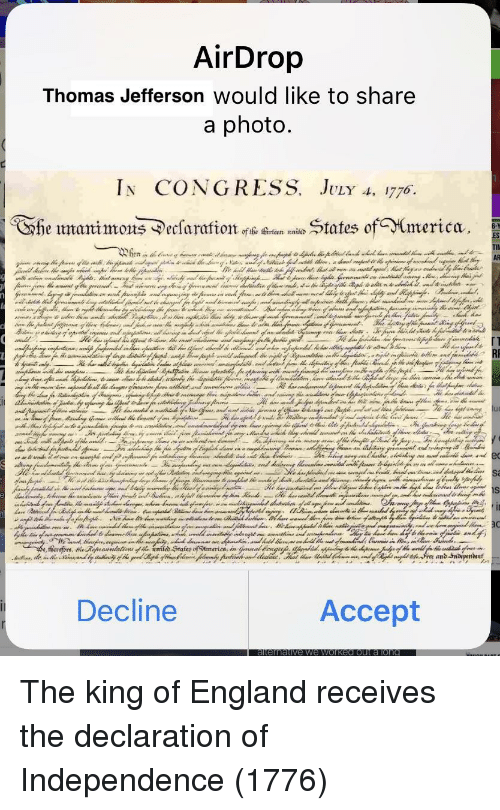 Declaration of Independence: Thomas Jefferson Would like to share  In CONGRESS. JvLr A, 1776  he umanimons ^ecsaratates ofmerica  TIl  Decline  Accept The king of England receives the declaration of Independence (1776)