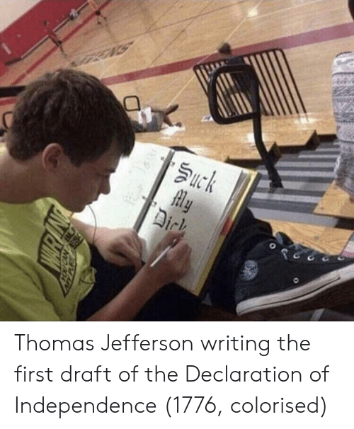 Declaration of Independence: Thomas Jefferson writing the first draft of the Declaration of Independence (1776, colorised)