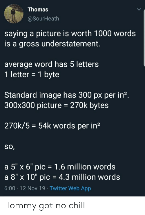 "No chill: Thomas  @SourHeath  saying a picture is worth 1000 words  is a gross understatement  average word has 5 letters  1 letter = 1 byte  Standard image has 300 px per in2.  300x300 picture  270k bytes  270k/5 54k words per in2  So,  a 5"" x 6"" pic 1.6 million words  a 8"" x 10"" pic = 4.3 million words  6:00 12 Nov 19 Twitter Web App Tommy got no chill"
