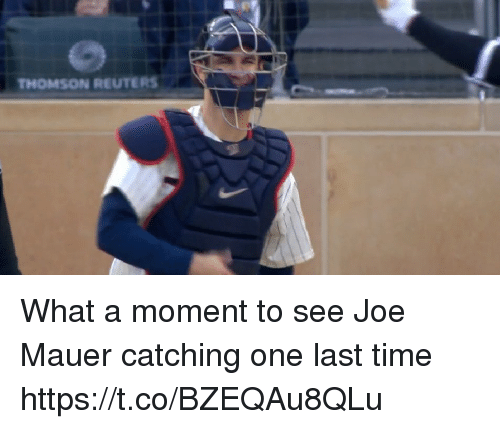 Reuters: THOMSON REUTERS What a moment to see Joe Mauer catching one last time https://t.co/BZEQAu8QLu