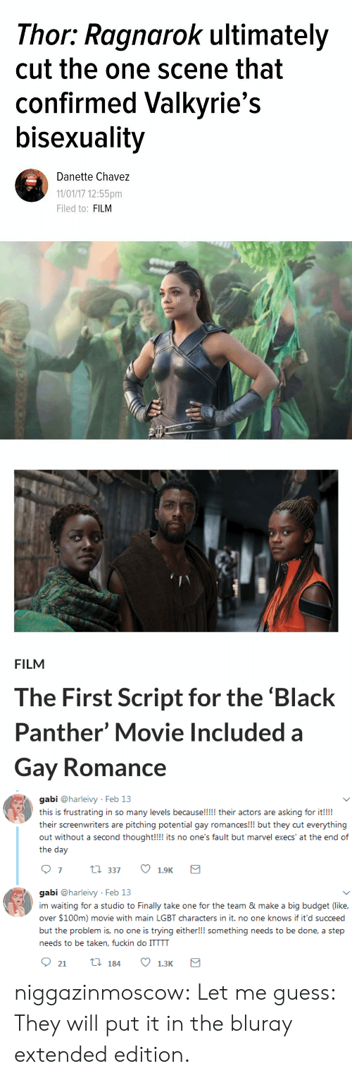 Bisexuality: Thor: Ragnarok ultimately  cut the one scene that  confirmed Valkyrie's  bisexuality  Danette Chavez  11/01/17 12:55pm  Filed to: FILM   FILM  The First Script for the 'Black  Panther' Movie Included a  Gay Romance   gabi @harleivy Feb 13  this is frustrating in so many levels because!!!!! their actors are asking for it!!!  their screenwriters are pitching potential gay romances!!! but they cut everything  out without a second thought!!! its no one's fault but marvel execs' at the end of  the day  07 t 337 1.9K  gabi @harleivy Feb 13  im waiting for a studio to Finally take one for the team & make a big budget (like,  over $100m) movie with main LGBT characters in it. no one knows if it'd succeed  but the problem is, no one is trying either!!! something needs to be done, a step  needs to be taken, fuckin do ITTTT niggazinmoscow: Let me guess: They will put it in the bluray extended edition.