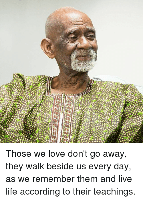 Life, Love, and Memes: Those we love don't go away, they walk beside us every day, as we remember them and live life according to their teachings.