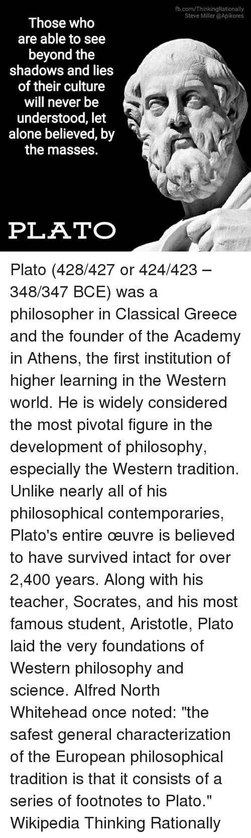a view of plato on the shadow world in the philosophy The athenian philosopher plato (c428-347 bc) is one of the most important figures of the ancient greek world and the entire history of western thought in.