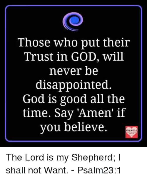 Good: Those who put their  Trust in GOD, will  never be  disappointed.  God is good all the  time. Say Amen' if  you believe.  PSALM 231 The Lord is my Shepherd; I shall not Want. - Psalm23:1